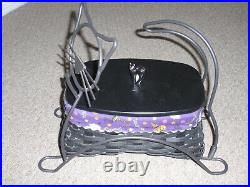 Longaberger 2009 Black Cat Basket Set with Lid and Black Cat Wrought Iron, NEW