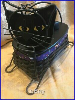 Longaberger 2009 Black Cat Set Wrought Iron, Basket Set, Lid with2 Knobs & Face