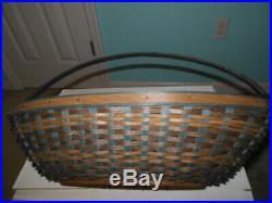 Longaberger 2009 CC Handled Large Rich Brown & Teal Oval Basket Set