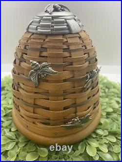 Longaberger 2010 Collectors Club BEE HIVE Basket Set with 3 Bee Tie Ons