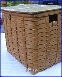 Longaberger 2010 Huge SORT & STORE RECYCLE BIN Basket Set withLids + Plastic Prots