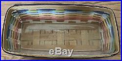 Longaberger 2010 SUMMERTIME Stripe Bread Basket Protector Set Retired Pastel