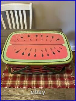 Longaberger 2010 Watermelon Market Basket Set New WithTags