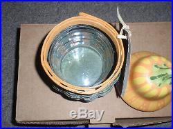 Longaberger 2011 Collectors Club Gourd Basket Set withPottery Lid & Protector, New