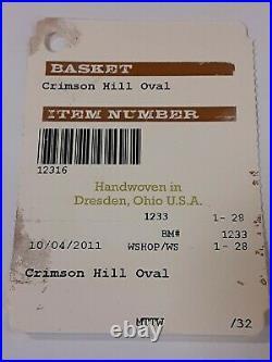Longaberger 2011 Crimson Hill Oval Basket & Protector Set Handwoven in the USA