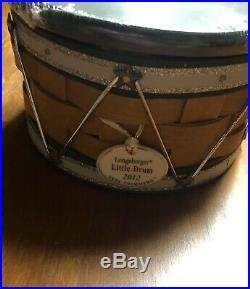 Longaberger 2012 Green Christmas Tree Trimming Little Drum basket set NEW
