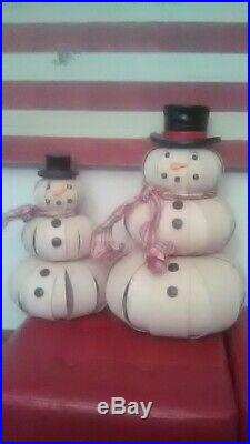 Longaberger 2012 Top Hat Snowman set (small and large) with removable scarves