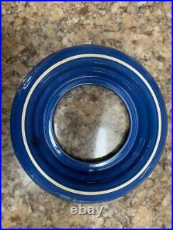 Longaberger 2013 Coastal Breeze Round Serving Basket withBlue Chip/Dip Pottery Set