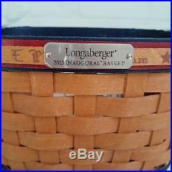 Longaberger 2013 Inaugural Basket Set Prot/Liner/Tie On/Lid AMERICANA PATRIOTIC