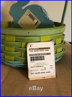 Longaberger 2015 Easter Basket Set Bright Green with Turquoise Bunny Divider