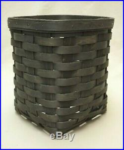 Longaberger 2015 Set of 3 Pewter Apothecary Square Canister Baskets withMetal Lids