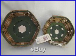 Longaberger 2016 Set of 2 GREEN GENERATIONS CHRISTMAS Baskets Protectors & Lids