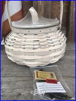 Longaberger 2017 Large Pumpkin Basket Set W Felt Pumkpin Face Tie On Set Too