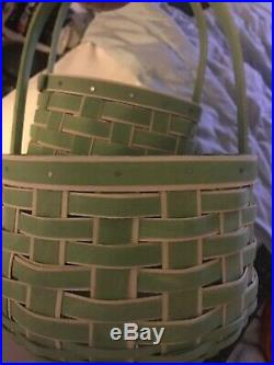 Longaberger 2018 Easter Basket Set In Pale Green WithWhite Small And Medium/large