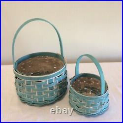 Longaberger 2018 Easter Basket Set Large & Small Set in Turquoise NEW