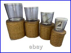 Longaberger 20 Pc Basket Canister Set, Tie Ons, Lids, 4 Air Tight Containers