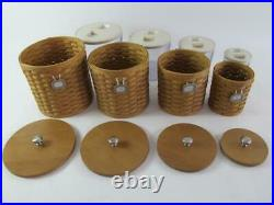 Longaberger 20 Piece Sealed Canister Basket Set Wood Lids Combo Flour Sugar Tea