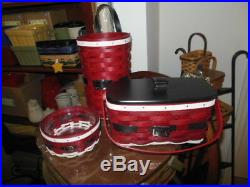 Longaberger (3) Santa Belly Basket Sets Bag It Medium Key Jolly Belly