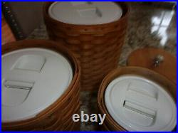 Longaberger 3pc Canister Set With Resealable Protectors, Wood Lids Silver Knob