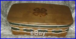 Longaberger 4H 4-H Usda Vanity Basket Set Green White with Clover tack covers