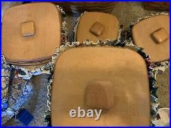 Longaberger 4 Canister Basket Set- Waverly Pleasant Valley/ Floral Vine-withRunner