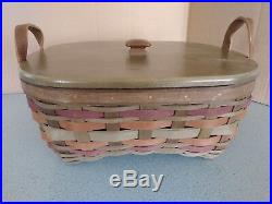 Longaberger ACT American Craft Traditions Harvesting basket, lid & prot set NEW