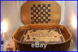 Longaberger ALL IN ONE GAME BASKET SUPER COMBO CHECKERS, CHESS BACKGAMMON SET