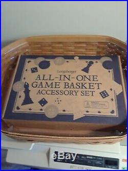 Longaberger All In One Game Basket with Accessory Set Great Condition