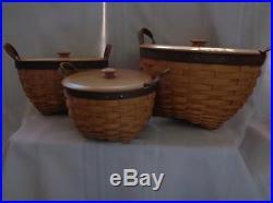 Longaberger-American Work Basket w Lidded Insert and Lid SET OF 3