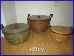 Longaberger American Work Baskets Stackable Set w Woodcraft Lids Lot of 3 Rare