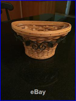 Longaberger At Home Garden Wall Vase Basket Set With Wrought Iron Hanger New