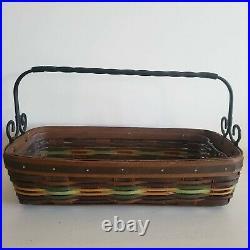 Longaberger Autumn Roads Artisan Bread Basket Set Wrought Iron Handle +Protector