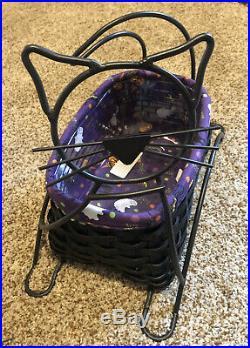 Longaberger BLACK CAT Halloween Basket Wrought Iron, liner & Protector Set