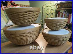 Longaberger BOWL Basket Set 13 11 9 7 w Lidded Hard Protectors KHAKI NIB Liners