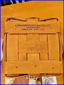 Longaberger Basket 1995 Set of 3 Square Canisters with Lids 11x7.5 9.5x6 7.5x5.5