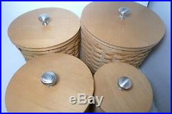 Longaberger Basket 4 Canister Set Lids Protectors Papers Flour Sugar Coffee Salt
