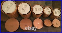 Longaberger Basket 5 Piece Canister Set withSealed Plastic Inserts, Lids & Tie-Ons