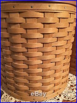 Longaberger Basket Canister Set 2006 With Sealable Protectors, WoodCrafts Lids