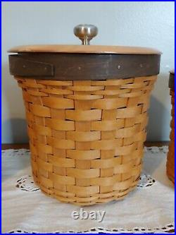 Longaberger Basket Canister Set 2008 With Sealed Plastic Inserts and Lids 12 pc