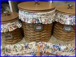 Longaberger Basket Canister Set & Bread Basket, Tie Ons, Lids, Liners, EUC