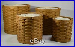 Longaberger Basket Canister Set With Sealed Plastic Inserts and lidsEUC