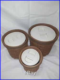 Longaberger Basket Canister Set of 3 with Inserts Never used