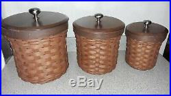 Longaberger Basket Canister Set of 3 with Sealed Protector inserts