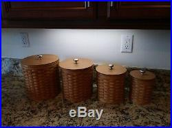 Longaberger Basket Canister Set of 4, Lids, Protectors, Tie Ons FREE shipping