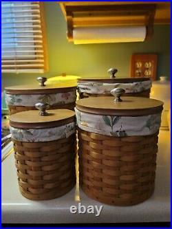 Longaberger Basket Canister Set of 4 withLids & Sealed Plastic Protectors 2nd EUC