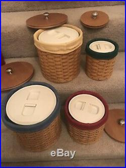 Longaberger Basket Canister Set with Plastic Inserts, Lids, Liners & Lids