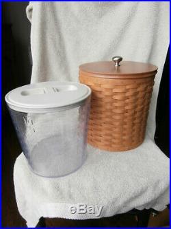 Longaberger Basket Canister Set with Plastic Inserts, Lids & Woodcraft Lids 14 Pc
