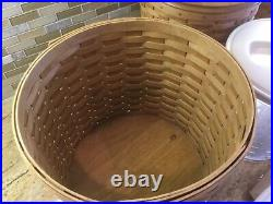Longaberger Basket Canisters 4 Piece Set Protectors Pewter Tie Ons Labels