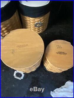 Longaberger Basket Kitchen Canister Complete Set EUC