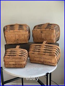 Longaberger Basket Lot With Navy Weave 4 Piece Set